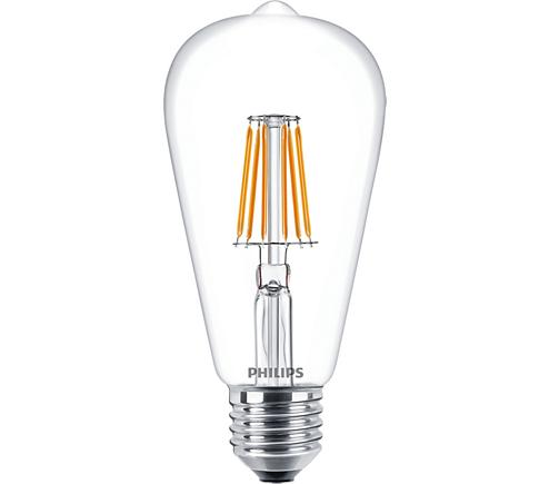 Philips Classic LEDbulb klar 7,5-60W 827 E27 ST64 FIL LED Lampe ...